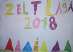 """Bunte Zelte und Text """"Zeltlager 2018"""""""